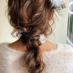ふわふわヘアアレンジ 編みおろし ヘアアレンジ 結婚式ヘアアレンジ ヘアスタイルや髪型の写真・画像