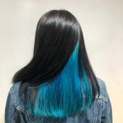 ストリート ターコイズブルー インナーカラー ロング ヘアスタイルや髪型の写真・画像