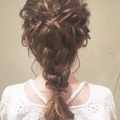 結婚式 大人かわいい 編み込み 女子会 ヘアスタイルや髪型の写真・画像