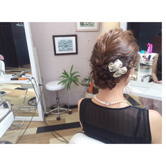 二次会 編み込み 結婚式 ボブ ヘアスタイルや髪型の写真・画像
