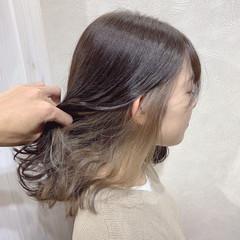 インナーカラー 外国人風カラー ミルクティーベージュ ナチュラル ヘアスタイルや髪型の写真・画像