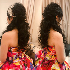 ヘアセット ハーフアップ フェミニン 結婚式 ヘアスタイルや髪型の写真・画像