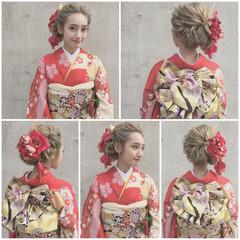 大人かわいい 成人式 セミロング ヘアアレンジ ヘアスタイルや髪型の写真・画像