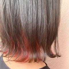 インナーカラー ボブ 透明感カラー ミニボブ ヘアスタイルや髪型の写真・画像