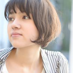 ショートボブ 大人かわいい 斜め前髪 ショート ヘアスタイルや髪型の写真・画像