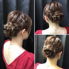 結婚式 デート お花ヘア 編み込み ヘアスタイルや髪型の写真・画像