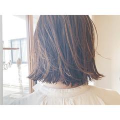 ボブ 切りっぱなしボブ 極細ハイライト コントラストハイライト ヘアスタイルや髪型の写真・画像