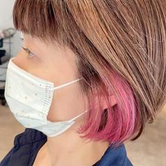 インナーカラー ピンクベージュ ピンクアッシュ ピンク ヘアスタイルや髪型の写真・画像