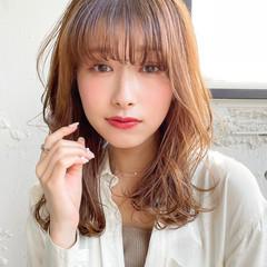韓国ヘア エレガント セミロング 透明感カラー ヘアスタイルや髪型の写真・画像