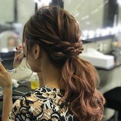 ローポニーテール 結婚式 エレガント ヘアアレンジ ヘアスタイルや髪型の写真・画像