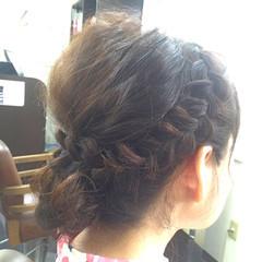 編み込み 大人かわいい ヘアアレンジ フェミニン ヘアスタイルや髪型の写真・画像