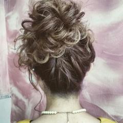 お団子 セミロング ヘアアレンジ パーティ ヘアスタイルや髪型の写真・画像