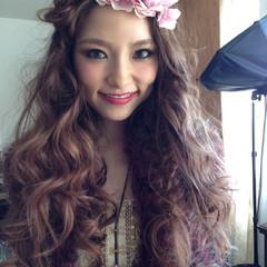 ピンク アッシュ ガーリー ロング ヘアスタイルや髪型の写真・画像