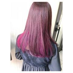 ピンク アンニュイほつれヘア ラベンダーピンク インナーカラーパープル ヘアスタイルや髪型の写真・画像