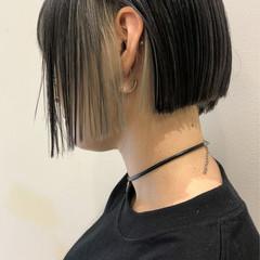 外国人風カラー ミニボブ グレージュ インナーカラー ヘアスタイルや髪型の写真・画像