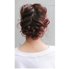 ダブルカラー 簡単ヘアアレンジ ヘアアレンジ ナチュラル ヘアスタイルや髪型の写真・画像