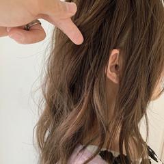 セミロング 大人可愛い 透け感 透明感カラー ヘアスタイルや髪型の写真・画像