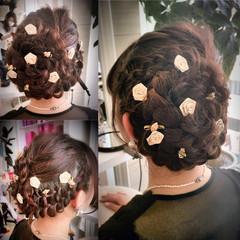 ヘアアレンジ 編み込み まとめ髪 大人かわいい ヘアスタイルや髪型の写真・画像