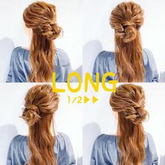 ロング デート 上品 簡単ヘアアレンジ ヘアスタイルや髪型の写真・画像