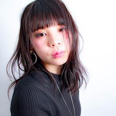 アンニュイ 黒髪 セミロング ラフ ヘアスタイルや髪型の写真・画像