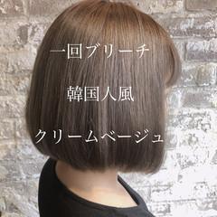 ミルクティーベージュ 韓国ヘア ブリーチオンカラー 大人かわいい ヘアスタイルや髪型の写真・画像