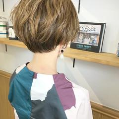 ショートボブ ナチュラル ショート オフィス ヘアスタイルや髪型の写真・画像