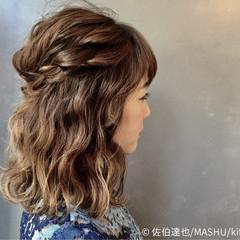 ハーフアップ 外国人風 ヘアアレンジ グラデーションカラー ヘアスタイルや髪型の写真・画像
