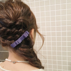 大人女子 二次会 ヘアアレンジ セミロング ヘアスタイルや髪型の写真・画像