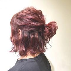ボブ ストリート くせ毛風 ハーフアップ ヘアスタイルや髪型の写真・画像