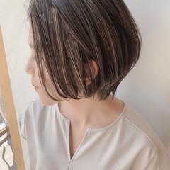 外国人風カラー 透明感カラー ショートボブ ナチュラル ヘアスタイルや髪型の写真・画像