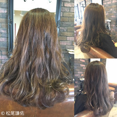 ブリーチなし ロング アッシュ ベージュ ヘアスタイルや髪型の写真・画像