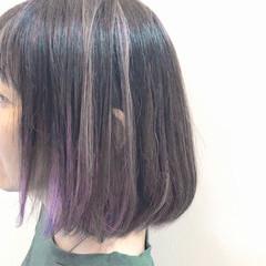 ボブ 秋 バレイヤージュ ハイライト ヘアスタイルや髪型の写真・画像