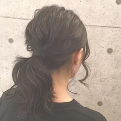 こなれ感 ローポニーテール ヘアアレンジ 簡単ヘアアレンジ ヘアスタイルや髪型の写真・画像