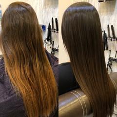 セミロング 艶髪 髪質改善 ナチュラル ヘアスタイルや髪型の写真・画像