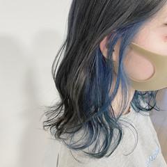 ブルーアッシュ ブリーチオンカラー ナチュラル 透明感カラー ヘアスタイルや髪型の写真・画像
