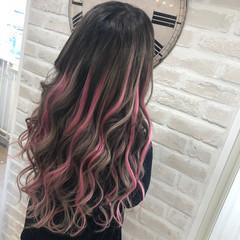 ハイライト 超音波 エクステ ピンク ヘアスタイルや髪型の写真・画像