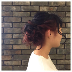 簡単ヘアアレンジ ねじり ヘアアレンジ 編み込み ヘアスタイルや髪型の写真・画像