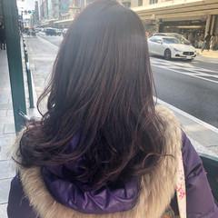 ラベンダーピンク ミディアムレイヤー ロング 外国人風カラー ヘアスタイルや髪型の写真・画像
