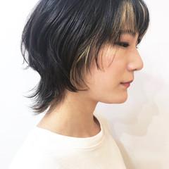 ハイライト ナチュラル インナーカラー ミディアム ヘアスタイルや髪型の写真・画像
