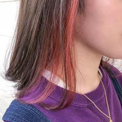 ピンク ピンクアッシュ ナチュラル インナーカラーレッド ヘアスタイルや髪型の写真・画像