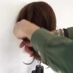簡単 ミディアム ヘアアレンジ ナチュラル ヘアスタイルや髪型の写真・画像