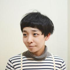 ショート サイドアップ マッシュ 黒髪 ヘアスタイルや髪型の写真・画像