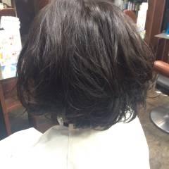 黒髪 ふわふわ ボブ ナチュラル ヘアスタイルや髪型の写真・画像