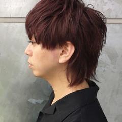 モード ウルフカット ピンク ショート ヘアスタイルや髪型の写真・画像