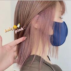 透明感カラー ガーリー ピンク セミロング ヘアスタイルや髪型の写真・画像