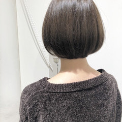 透明感 ボブ グレージュ 秋 ヘアスタイルや髪型の写真・画像