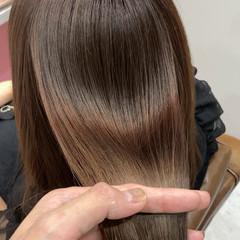 ナチュラル 艶髪 セミロング ブラウン ヘアスタイルや髪型の写真・画像