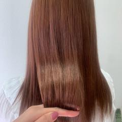 ナチュラル セミロング ピンクベージュ ヘアスタイルや髪型の写真・画像