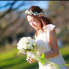 ミディアム 花 ナチュラル ヘアアレンジ ヘアスタイルや髪型の写真・画像