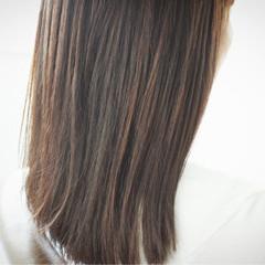ブラウンベージュ ブラウン 白髪染め セミロング ヘアスタイルや髪型の写真・画像